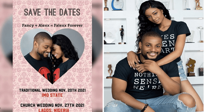 Alexx Ekubo and Fancy Acholonu, #Falexx2021have set November 20th and 27th as their wedding dates